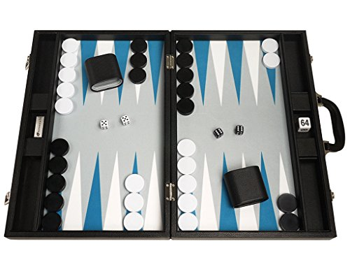 Silverman & Co. 19-inch Premium Backgammon Set - Large Size - Black with White and Astral Blue Points