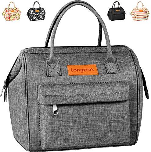 longzon 15L Kühltasche Lunchtasche Picknicktasche Wiederverwendbare Faltbar Thermotasche Kühltasche für Camping, BBQ, Wandern, Picknick- Grau