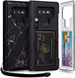 TORU CX PRO Note 9 Wallet Case Pattern with Hidden Credit Card Holder ID Slot Hard Cover, Strap, Mirror & USB Adapter for Samsung Galaxy Note 9 (2018) - Black Marble
