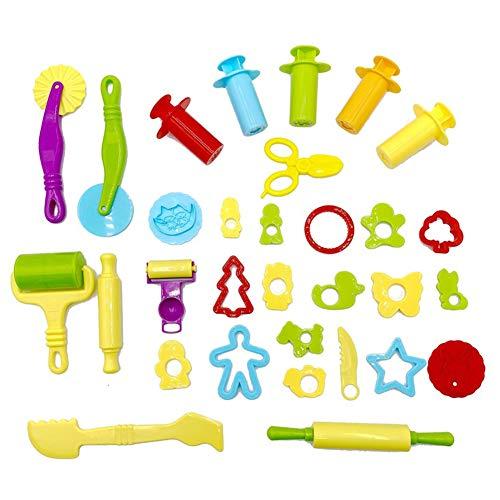 Vegena 30 Stück Knete Zubehör, Knetwerkzeug Teig Plastilin Werkzeuge Set, Knete Ausstechformen Küchenspielzeug ab 3 Jahre für Kinder