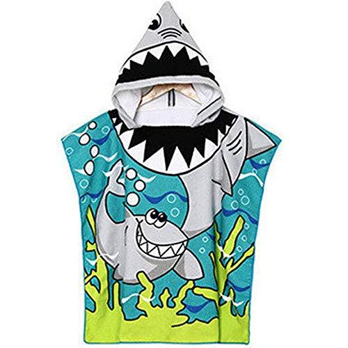 Toalla de Baño con Capucha de playa, Albornoz de Dibujos Animados Toalla, con Playa Natación Poncho Patrón, Adecuado para Niños y Niñas, Adecuado para Uso en la Playa o el Baño(Tiburón Verde)