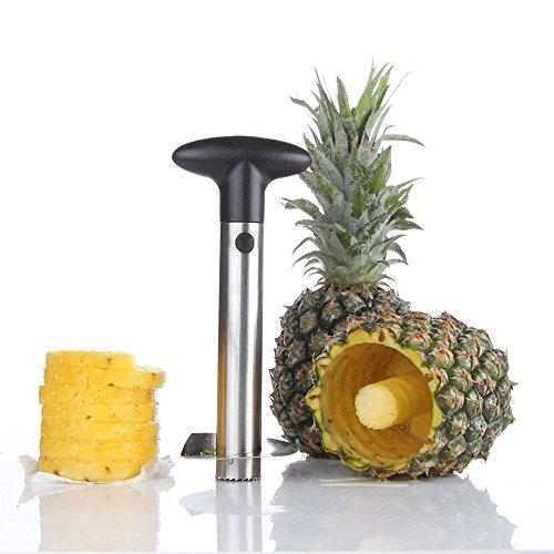 Super Z Outlet Stainless Steel Pineapple Corer Slicer Peeler [Upgraded, Reinforced, Thicker Blade] for Diced Fruit Rings All in One Pineapple Tool Peeler