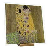 Korban cuadro de cristal impreso visible por ambos lados. Reproducción del cuadro famoso de gustav klimt: el beso impresión sobre cristal 20 x 20 cm