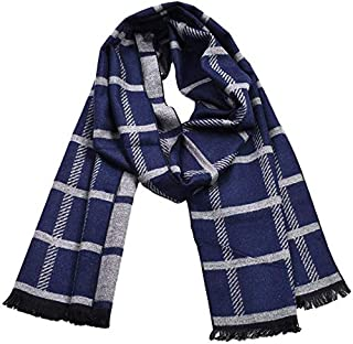 Autumn and Winter Men's Scarves Warm Fashion Classic Plaid Business Casual Scarf,Blue yppss (Color : Blue, Size : -)