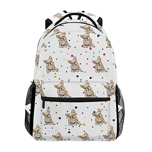 Stylish Frenchie Bulldog Backpack- Lightweight School College Travel Bags, ChunBB 16' x 11.5' x 8'