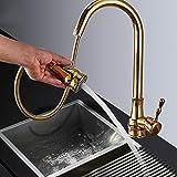 Tirare su rubinetto della cucina dorata lavello miscelatore rubinetto girevole becco lavello rubinetto jet spruzzatore rubinetto della cucina calda fredda d'oro