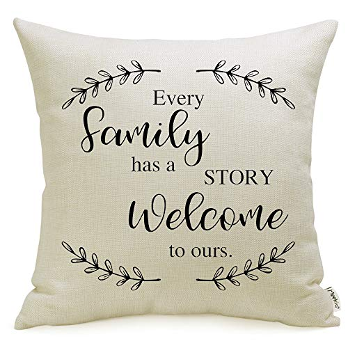 Meekio Farmhouse Pillow Covers with Every Family Has a Story Welcome to Ours Quote 18 x 18 inch for Farmhouse Décor Housewarming Gifts