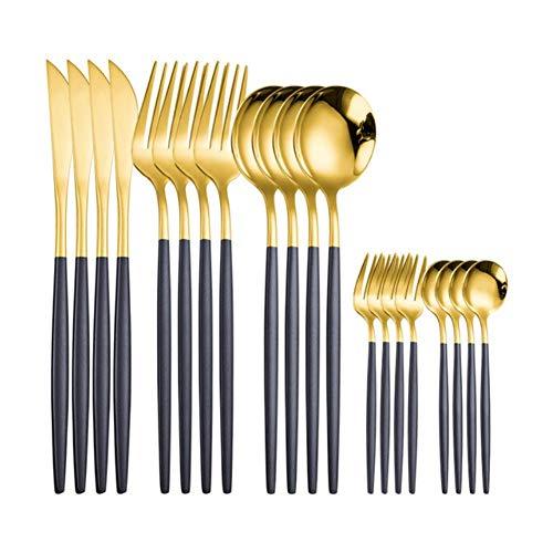 LucaSng - Juego de vajilla (20 piezas, juego de cubiertos de acero inoxidable, juego de cubiertos de acero inoxidable, cuchara occidental, juego de cubertería, 4 unidades, color dorado negro