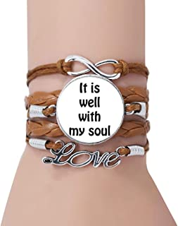 It is Well with My Soul Christian Quotes Bracelet Love Twisted Leather Rope Wristband Jewelry