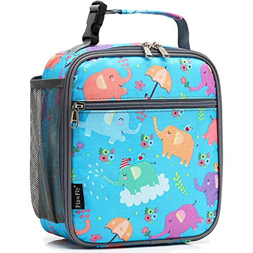FlowFly Kids Lunch box Insulated Soft Bag Mini Cooler Back to School Thermal Meal Tote Kit for Girls, Boys, Elephant