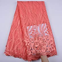 3 Yards African Lace Fabric Nigerian French Beaded Lace Net Fabric Embroidered Fabric for Wedding Party Dress Corded Guipure K7 (Coral)