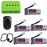 Eachine E016H RC Drone Quadcopter Spare Parts 5PCS 3.7V 350mAh Lipo Battery with 5-in-1 Balance Charge USB Charging Cable