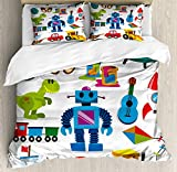 Lunarable Nursery Duvet Cover Set, Colorful Toys with Cartoon Art Style Robot and Dinosaur Ship Controller UFO, Decorative 3 Piece Bedding Set with 2 Pillow Shams, Queen Size, Yellow Blue