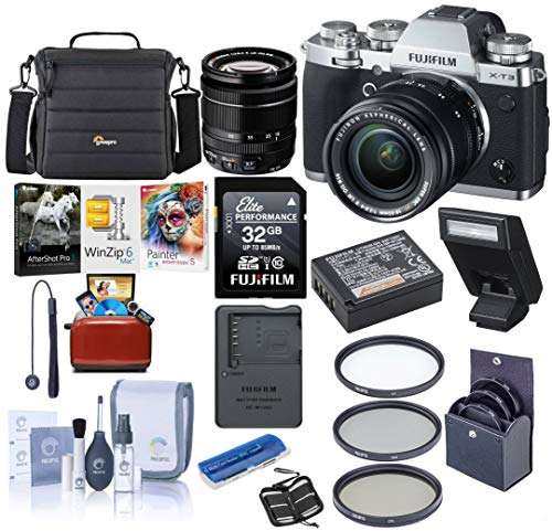 Fujifilm X-T3 26.1MP Mirrorless Camera with XF 18-55mm f/2.8-4 R LM OIS Lens, Silver - Bundle with Case, 32GB SDHC Card,...