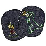 Flicken Dino und Vulkan zum aufbügeln 12 x 10cm Bügelflicken blau Jeans teilw. neon Bügelbilder