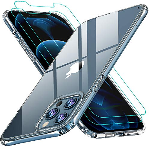AEDILYS Compatible with iPhone 12 Pro Max Case (2020),[Airbag Series] with [2 x Screen Protector] [Military Grade] | 15Ft. Drop Tested [Scratch-Resistant] 6.7Inch- Clear