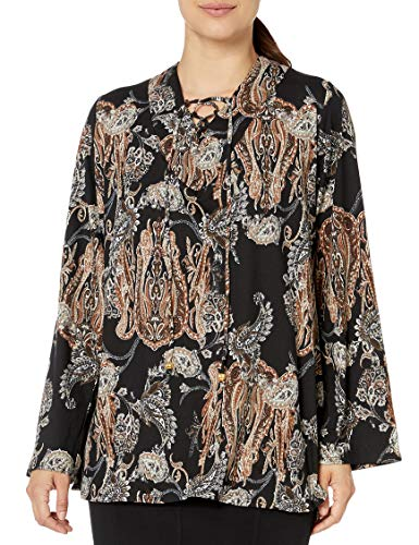 Notations Women's Long Bell Sleeve Printed Knit Top, Brown Purpose, Petite/Small