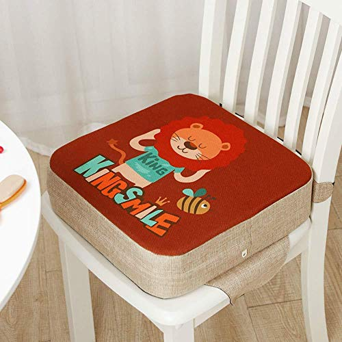 ARR Children Seat Cushion Booster Chair, Baby Dismountable Portable Seat Cushion Cartoon Square Toddler Dining Chair Raise, Lion, 40x40x10cm