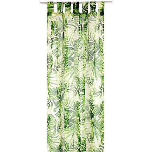 Arsvita Gardine (Greenline) Voile mit Schlaufen 140x245cm Schlaufenvorhang für zu Hause, transparente und Moderne Fensterdekoration