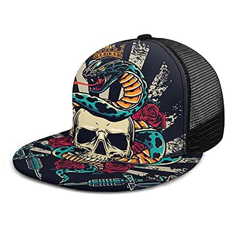 HARLEY BURTON Gorra de béisbol unisex con rejilla impresa plana con factura de la vendimia real corona serpiente rosa cráneo verano ajustable empalme Hip Hop Cap Sun Hat