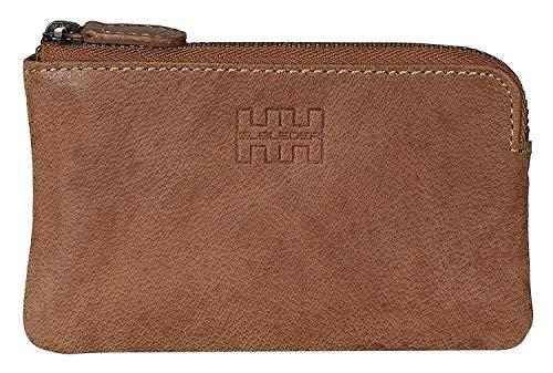 Elbleder Schlüsseletui Leder Hell-Braun Vintage auch als Echtleder Mini-Geldbörse Damen Herren RFID Schutz Blocker für Kreditkarten und Bankkarten Schlüsseltasche Schlüsselmäppchen Schlüsselmappe