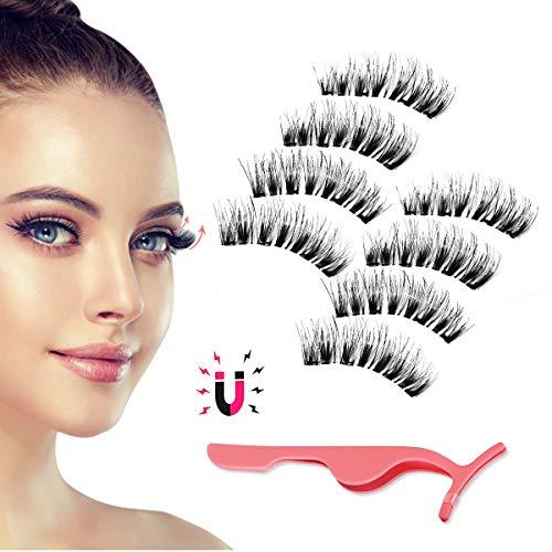 Magnetic Eyelashes, Day to Night Eyelash Kit, Reusable Silk False Lashes, Ultra Thin Magnet, Light weight & Easy to Wear, Best 3D Reusable Eyelashes with Applicator, 8 pac with Tweezers
