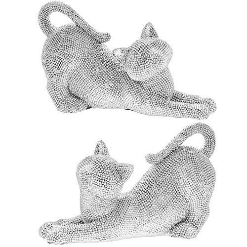Silver Art Cats - Set of 2 Cat Ornaments Figurine Sparkly Glitzy Decorative - 19x8x12cm, LP44605