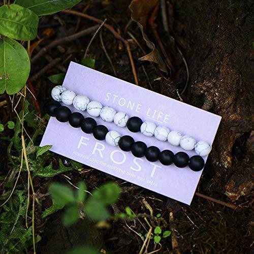 N-B Blanco Negro Pulsera de Piedra Natural Hombres y Mujeres Moda Arco Iris Chakra Pulsera de Cadena de Cuentas Regalo de la Amistad