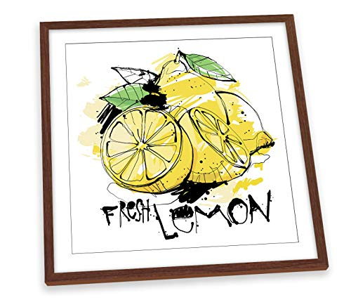 Canvas Geeks Póster cuadrado con marco de madera de limón y fruta para cocina, 35 cm x 35 cm