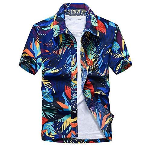 NOBRAND Camisa casual hawaiana de manga corta estampada floral suelto cárdigan Azul azul M