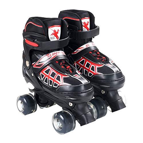 Ice-Beauty-ukzy Kids Quad Roller Skate, Size Adjustable Light Up Roller Skates for with Breathable Mesh Skates Beginners Double Wheels Skate for Kids Best GiftsBlack red-M (33~37)