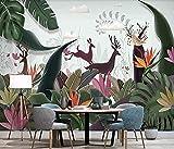 Fotomurales Alce en hojas de plátano tropical fotomurales Pared Pintado Papel tapiz 3D Decoración dormitorio Fotomural de estar sala sofá mural-350cm×256cm