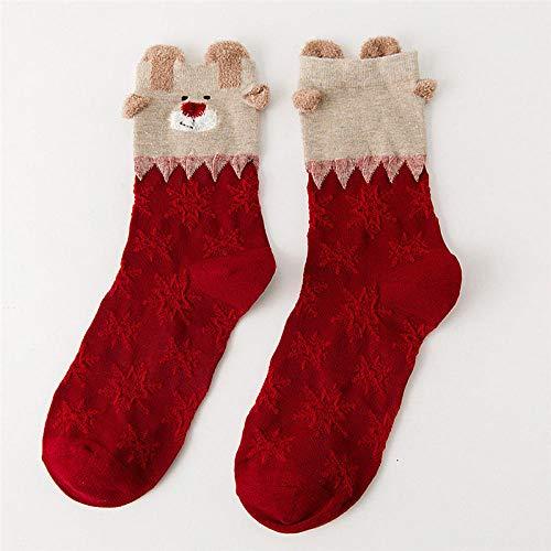 qinhome Karneval-Winter-Socken-weibliches Jahr-Ende Baumwollweihnachtsgeschenk Warme weiche Bequeme Baumwollwinter-Socken Soxs