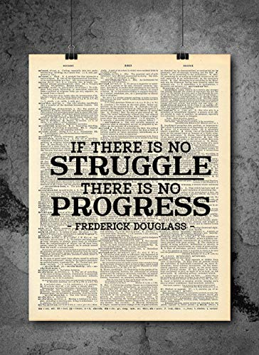 Frederick Douglas - If There Is No Struggle Quote Dictionary Art Print - Vintage Dictionary Art Decor Home Vintage Art Abstract Prints Wall Art for Home Decor Wall Decorations - Print Only