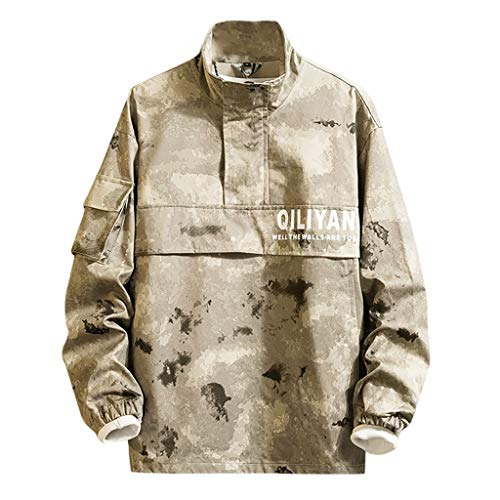 Qinhanjia Paare Lässig Tarnung Patchwork Pullover Hoodie Sport Jacke Outwear Mantel Sweatshirt (Khaki,XL)