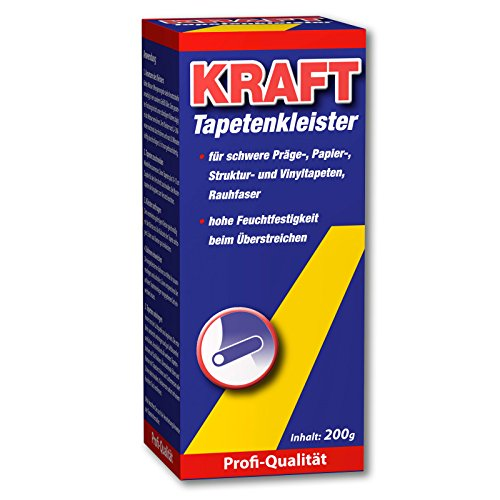 KRAFT Profi Qualität Spezial Tapetenkleister für schwere Präge, Papier-, Struktur, Raufahser- und Vinyltapeten 200g
