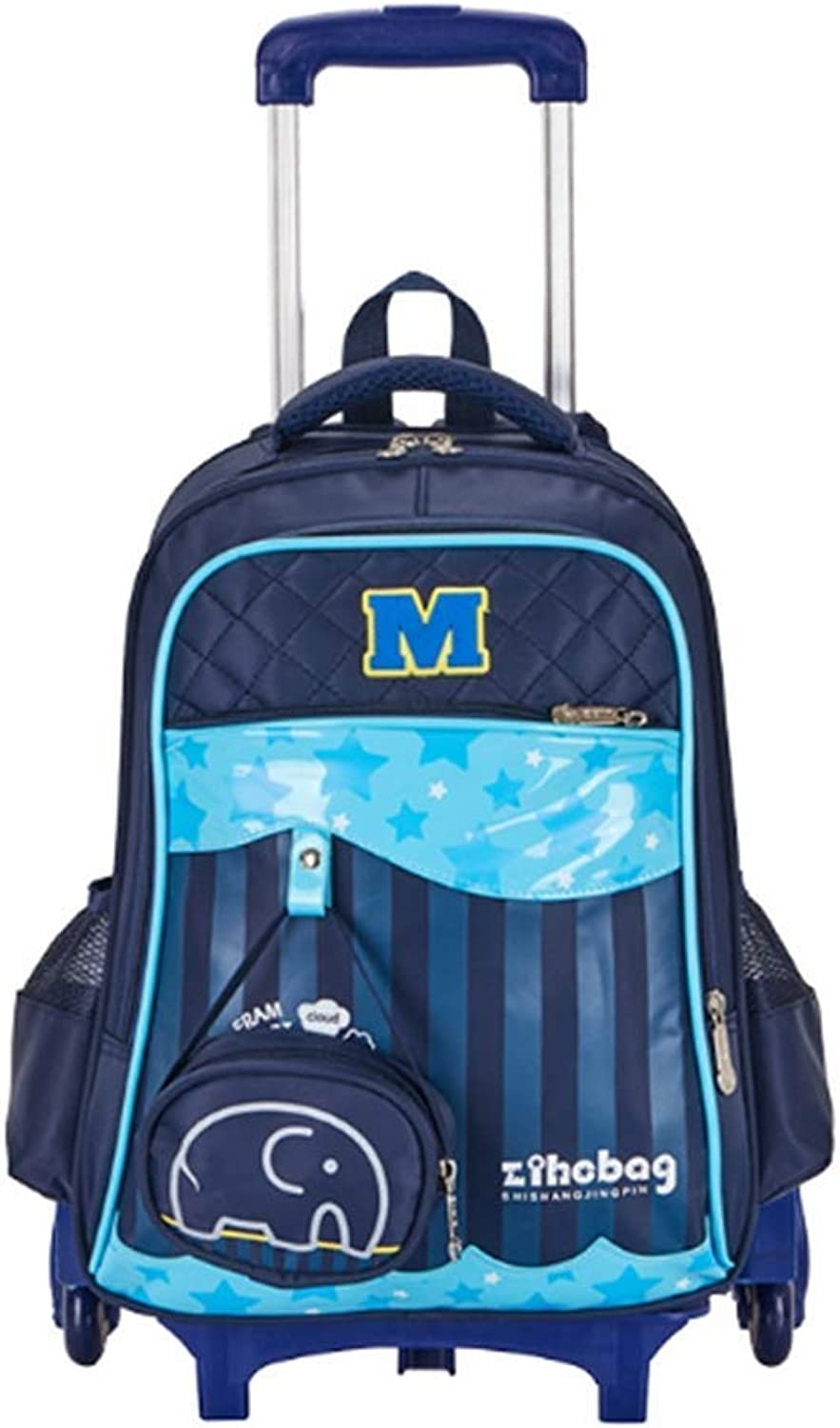 HIMFL Students Trolley School Bag Girl and Boy Rolling Backpack Six Wheels Climbing Stairs Removable Double Shoulder Bag Recommended Grade  16