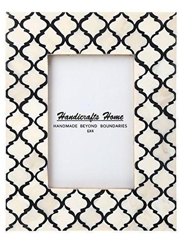 Handicrafts Home Cornice Foto Moorish Damasco Morocchino Arts Ispirato Fatto A Mano Colori Naturali Osso Montature Foto Misura 10.2x15.2cm - Nero-Bianco, 4_x_6_Inches