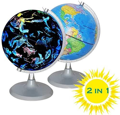 AnGeer Beleuchtete Weltkugel, USB 2 in 1 LED Desktop globus, Interaktiver Erdkugel mit Weltkarte und Aufstellungsansicht Fit für Kinder Erwachsene, Ideales Bildungs-Geographisches Lernspielzeug