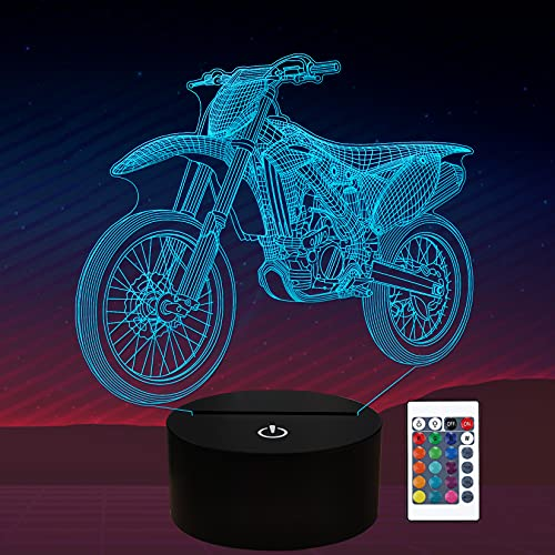 Dirt Bike Night Light , Motorcycle Gifts 3D Illusion Lamp for Kids, Motocross Lover Gifts for Girls Boys Men Women - 16 Colors Changing with Remote Control+Timer+Dim