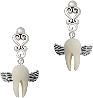 White Tooth with Wings - Tooth Fairy - Filigree Heart Earrings