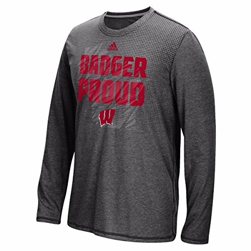 adidas Wisconsin Badgers NCAA Men's Black Sideline Energy Aeroknit Long Sleeve T-Shirt (S)