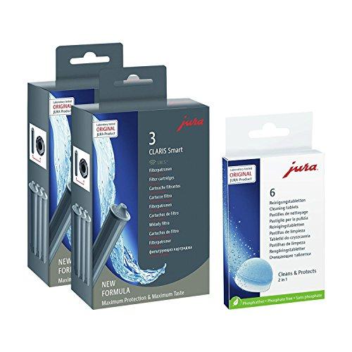Jura 71794 + 62715 Kombi-Pack, Claris Filterpatrone Smart (2 x 3er-Pack) + 6er Reinigungstabletten
