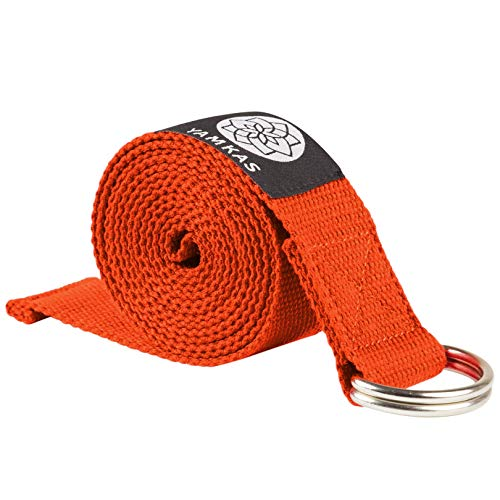 Yamkas Yoga Gurt 100% Bio Baumwolle | 1.8M - 3M Lang | Yogagurt mit Verschluss aus Metall | Yoga Strap Stretch Band | Orange