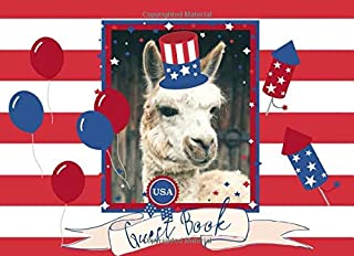 Guest Book: Fun Patriotic Llama Design | For parties and celebrations | Memorial Day, 4th of July and Labor Day | Great ke...