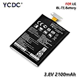 2PCS Replacement Battery,BL-T5 BL T5 Battery for LG Nexus 4 E960 Optimus G E970 E971 E973 E975 LS970