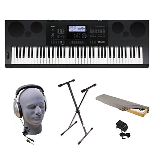 Casio WK-6600 PPK 76-Key Premium Keyboard Pack with Stand, Power Adapter, Dust Cover, and Samson HP30 Closed-Cup Headphones
