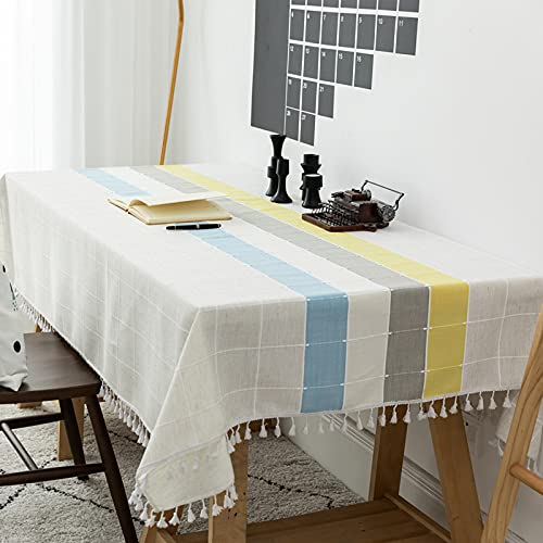 CYYyang Mesa de Comedor Lavable Cubierta de Lino de Tela con Borlas de Lino y algodón de imitación a Cuadros a Rayas