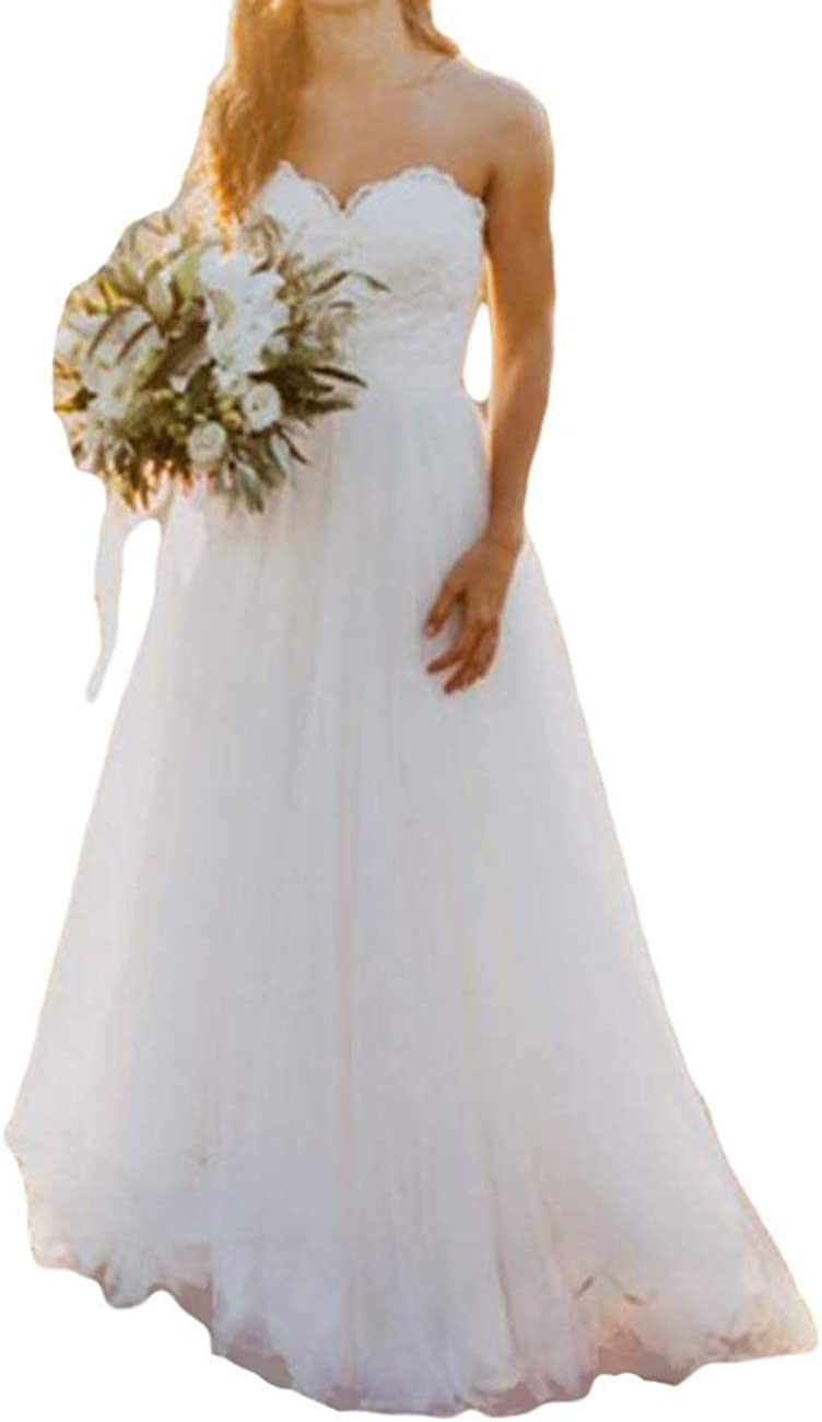 Wedding Dress Lace Bridal Gown Sweetheart Wedding Dresses for Bride Strapless Tulle