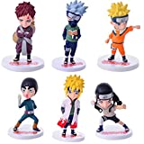CXNY 6pcs / Set Naruto Anime Peripheral 2021 Generation 6 Doll Toy Decoration Plastic PVC 9-12cm Car...